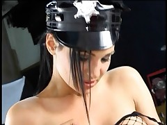 Lucky thin guy gets fucked in the ass with sex toys by his domme mistress