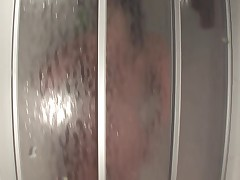 Huge-Boobs-Milf Dildoing and Posing in Kitchen and Shower