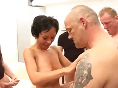 A Skinny German Mature And 4 Cocks