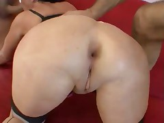 Brunette Mature Double-Stuffed