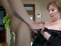 Beautiful mom in stockings & guy