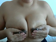 Milf's big breasts lactatin