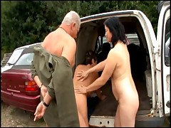 German Milf fucks hard in a junkyard