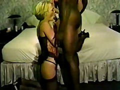 Ally is sexy black stockings take her first BBC creampie