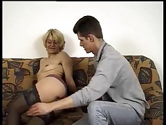 Hairy German Mature  fucks young man